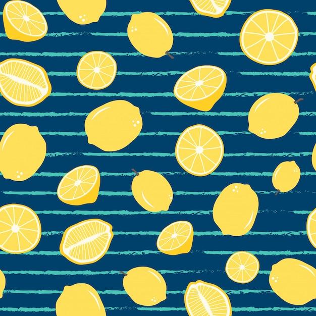 Lemon seamless pattern on stripe Vecteur Premium