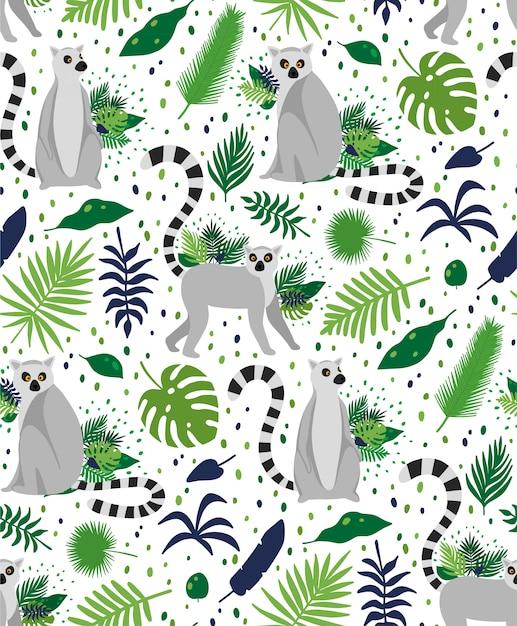 Lémures entourées de feuilles de palmier tropical. texture transparente motif été élégant vecteur Vecteur Premium