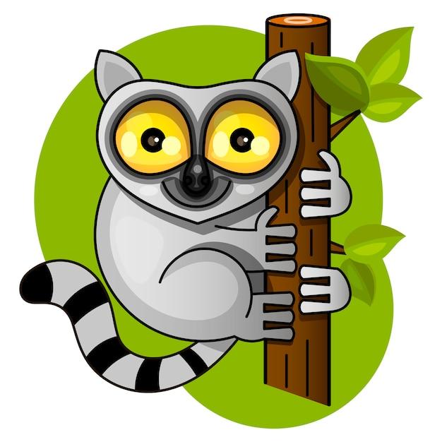 Lémurien mignon sur l'illustration vectorielle branche Vecteur Premium