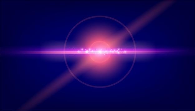 Lens flare light sur fond noir Vecteur Premium