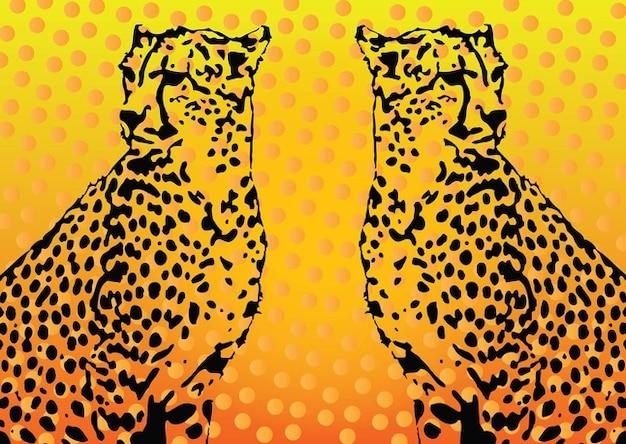 Silhouette of a cheetah. Graceful cheetah in the long jump ... |Iranian Cheetah Vector