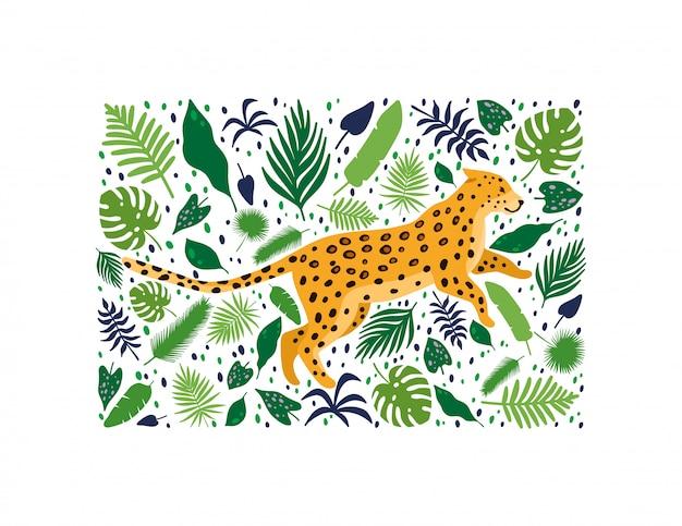 Léopards entourés de feuilles de palmier tropical Vecteur Premium