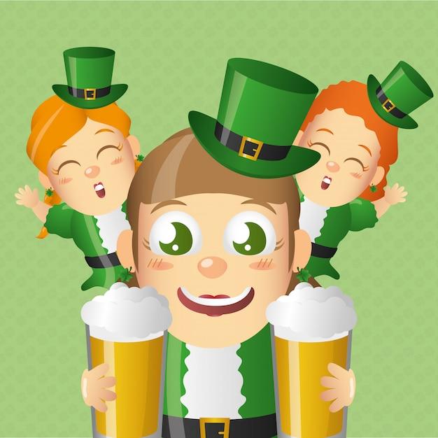 Leprechaun Irlandais Avec Des Bières, St Patricks Day Vecteur gratuit
