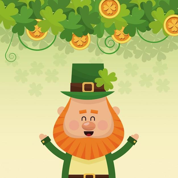Leprechaun Joyeux Mains Affiche Vecteur Premium