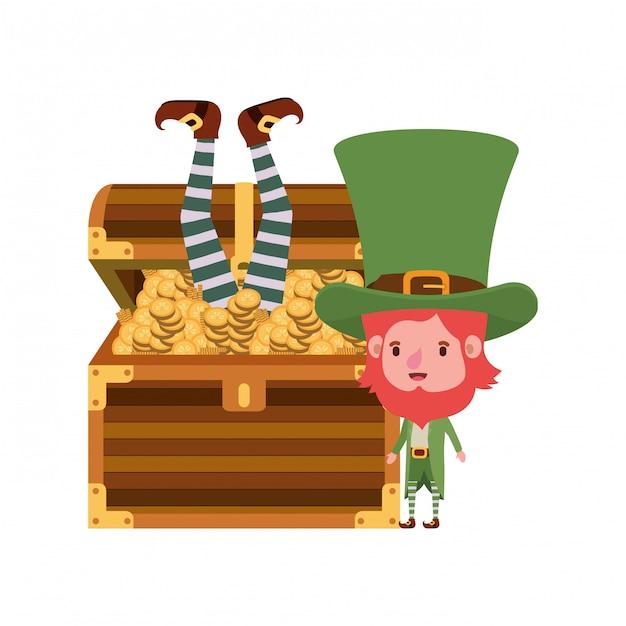 Leprechauns avec coffre et monnaies Vecteur Premium