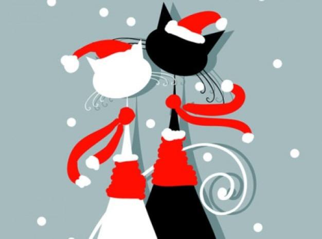 Les amants de chat mignon de Noël de fond Vecteur gratuit
