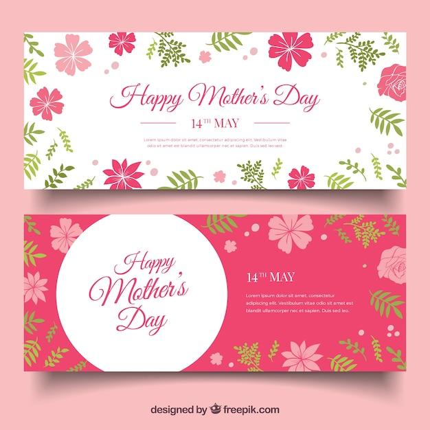 Les bannières de fête des mères avec des fleurs roses dans le design plat Vecteur gratuit