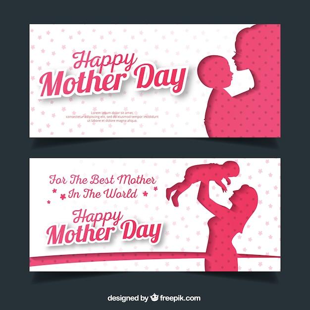 Les bannières de jour fantastique mère avec silhouettes Vecteur gratuit