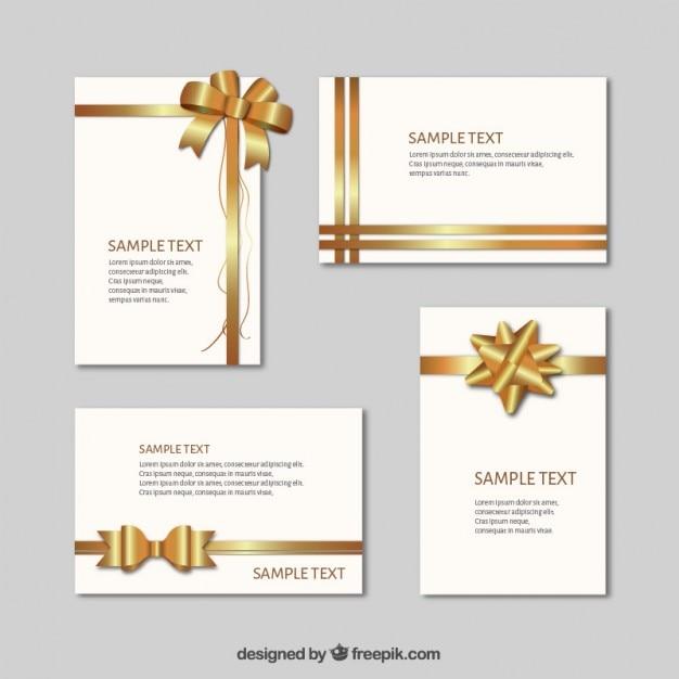 les cartes cadeaux avec des rubans d 39 or t l charger des vecteurs gratuitement. Black Bedroom Furniture Sets. Home Design Ideas