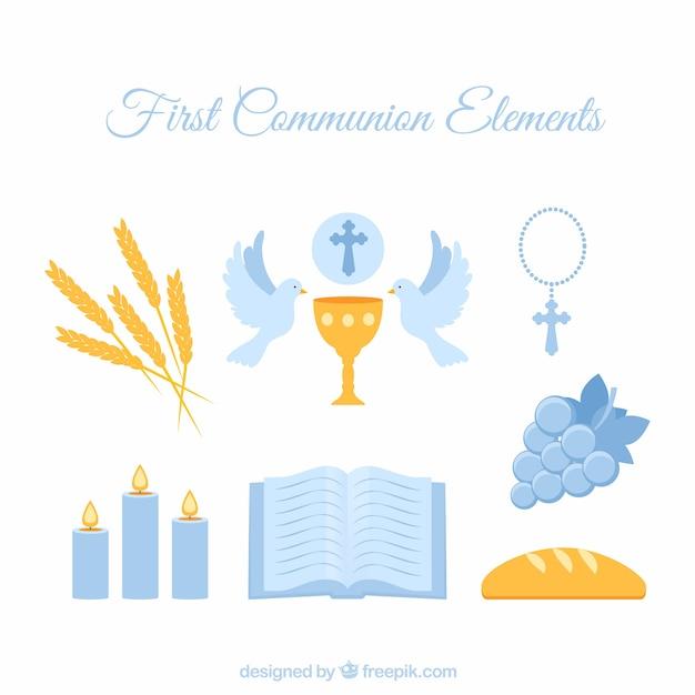 Les éléments de la première communion bleue Vecteur gratuit
