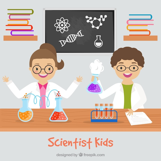 Les enfants de scientifique dans le laboratoire de design plat ...