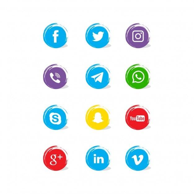 Les icônes avec des formes abstraites pour les réseaux sociaux Vecteur gratuit