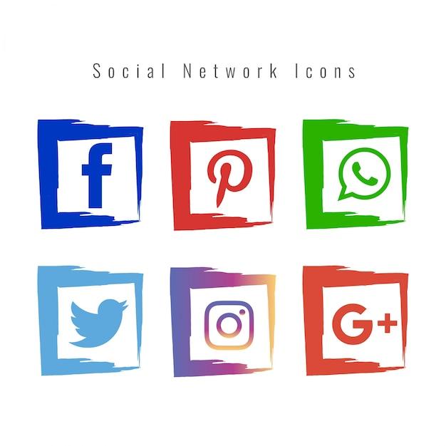 Les icônes du réseau social abstrait Vecteur gratuit