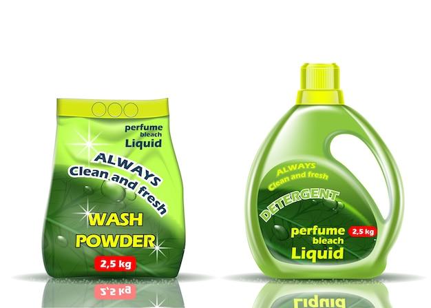 Lessive En Poudre. Liquide Et Poudre De Couleur Verte Est Aromatisé Avec Des Additifs Vecteur Premium