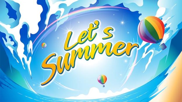 Let's summer Vecteur Premium
