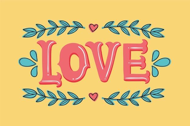 Lettrage D'amour Avec Coeurs Et Feuilles Vecteur gratuit
