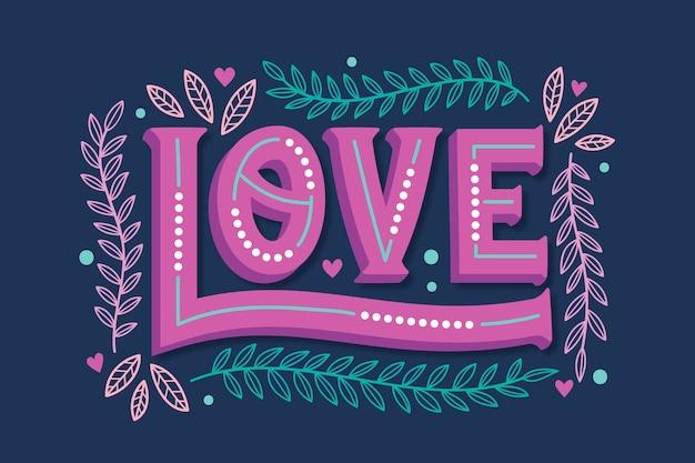 Lettrage D'amour Dans Le Concept De Style Vintage Vecteur gratuit