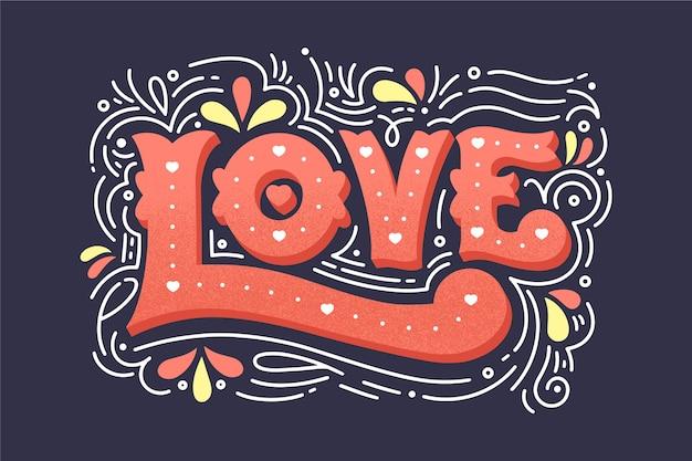 Lettrage D'amour Dans Un Style Vintage Vecteur gratuit