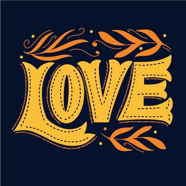 Lettrage D'amour Et Feuilles D'or Vecteur gratuit