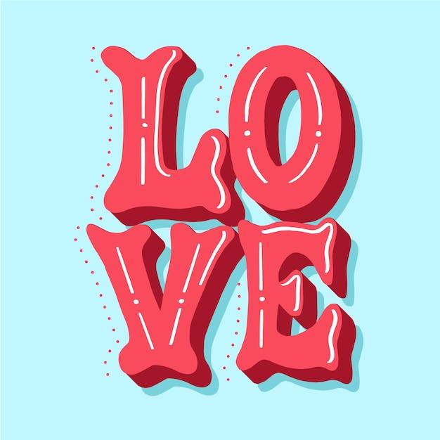 Lettrage D'amour Avec Une Ombre En Pointillés Mignonne Vecteur gratuit