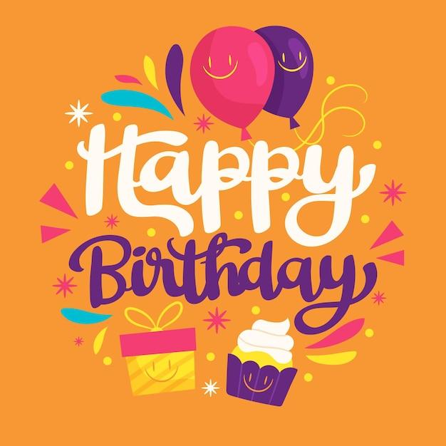 Lettrage D'anniversaire Ornemental Vecteur gratuit