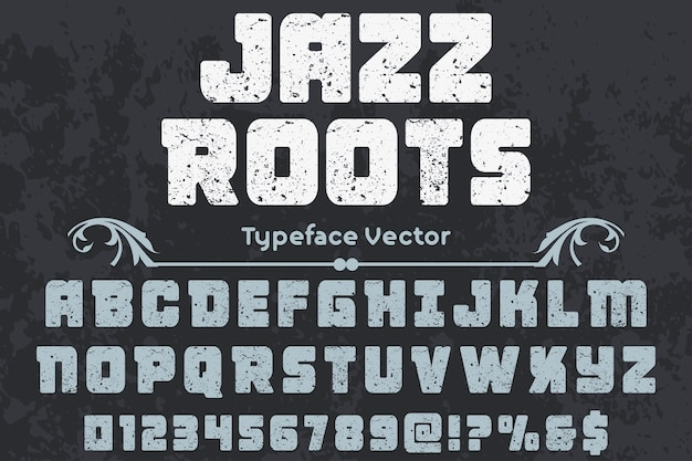 Lettrage artisanal label design racines jazz Vecteur Premium