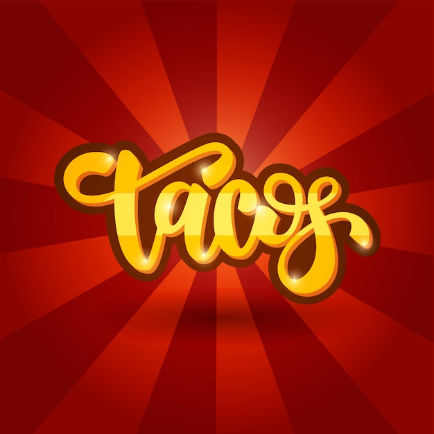 Lettrage bannière design tacos Vecteur Premium