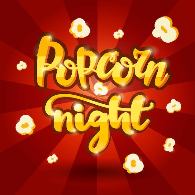Lettrage bannière nuit popcorn. Vecteur Premium