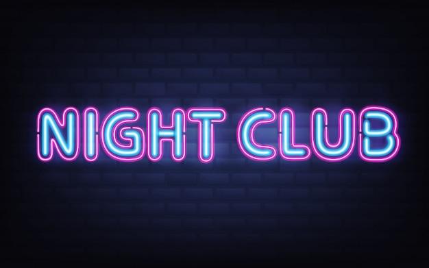 Lettrage de boîte de nuit au néon sur le mur de briques sombres. bleu rose brillant enseigne rougeoyante réaliste très détaillée Vecteur gratuit