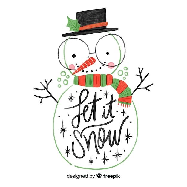 Lettrage bonhomme de neige dessiné à la main Vecteur gratuit