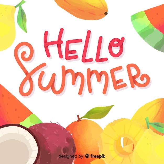 Lettrage bonjour l'été Vecteur gratuit