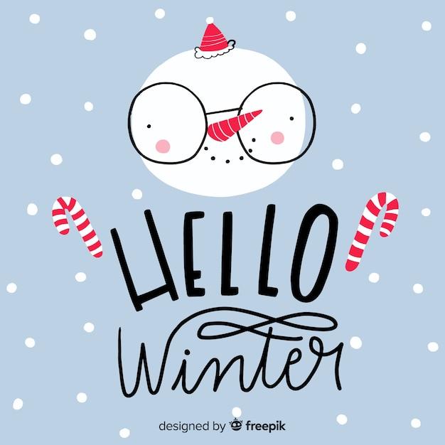 Lettrage bonjour hiver Vecteur gratuit