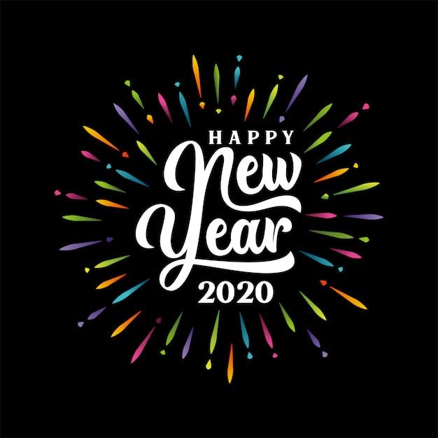 Lettrage De Bonne Année 2020 Avec Feu D'artifice éclaté Multicolore Vecteur Premium