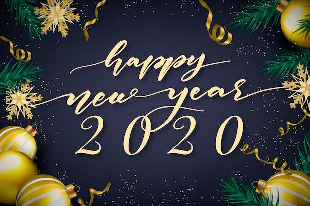Lettrage bonne année 2020 avec fond de décoration réaliste Vecteur gratuit