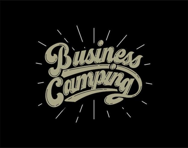 Lettrage de camping d'affaires Vecteur Premium