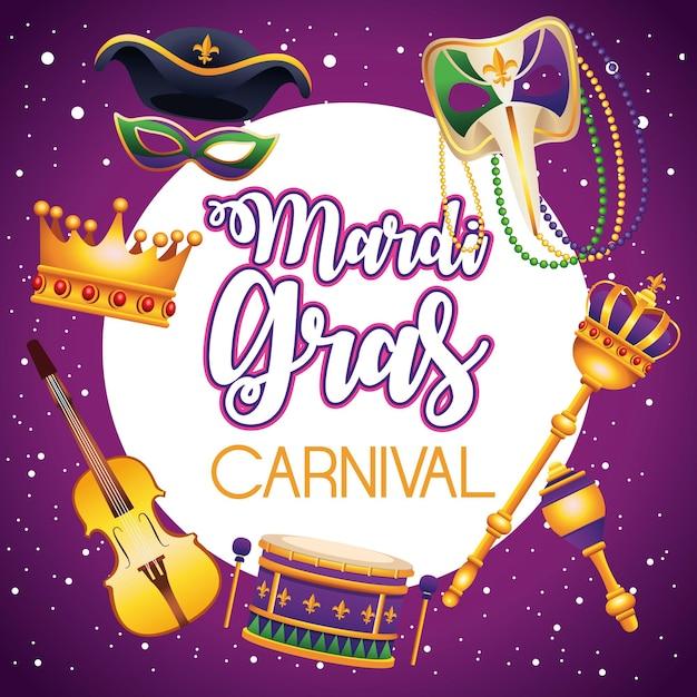 Lettrage De Carnaval De Mardi Gras Avec Des Icônes Autour De L'illustration Vecteur Premium