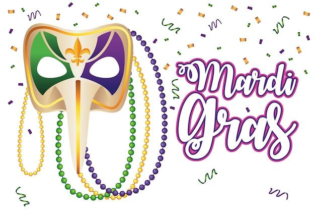 Lettrage De Carnaval De Mardi Gras Avec Illustration De Masque Arlequin Vecteur Premium