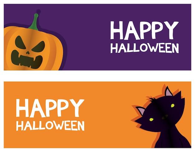 Lettrage De Carte Halloween Heureux Avec Conception D'illustration Vectorielle Chat Et Citrouille Vecteur Premium