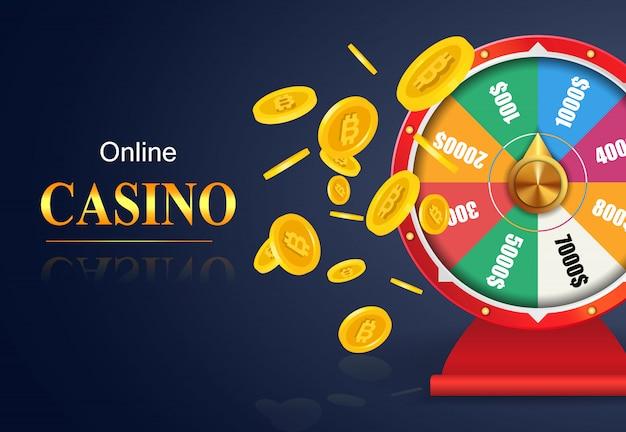 Lettrage de casino en ligne, roue de la fortune, battant des pièces d'or. publicité d'entreprise de casino Vecteur gratuit