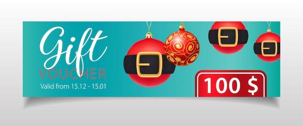 Lettrage de chèques-cadeaux et boules de noël avec ceintures Vecteur gratuit