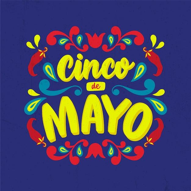 Lettrage De Cinco De Mayo Aux Piments Vecteur gratuit