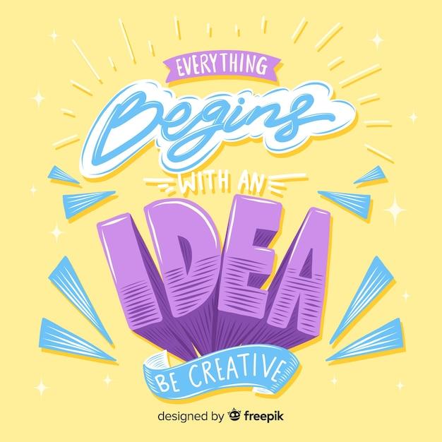 Lettrage avec citation pour la créativité Vecteur gratuit