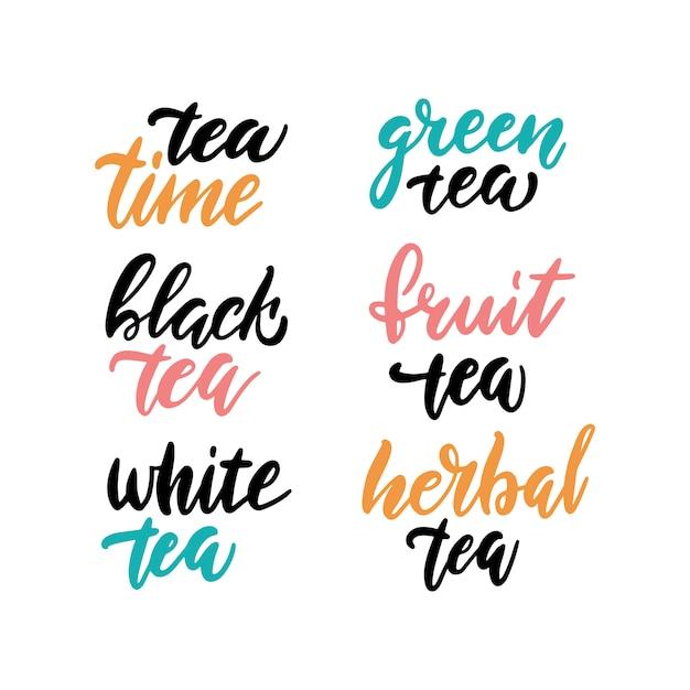 Lettrage collection heure du thé Vecteur Premium