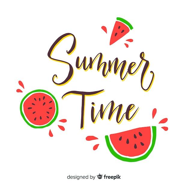 Lettrage coloré de l'été Vecteur gratuit
