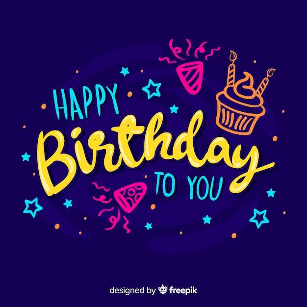 Lettrage coloré joyeux anniversaire Vecteur gratuit