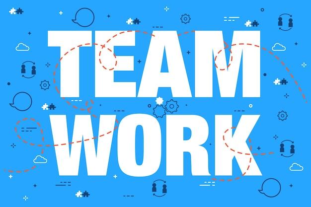 Lettrage De Concept De Travail D'équipe Sur Fond De Doodle Bleu Vecteur gratuit