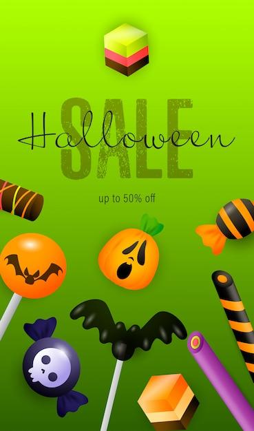 Lettrage et confiserie halloween sale Vecteur gratuit