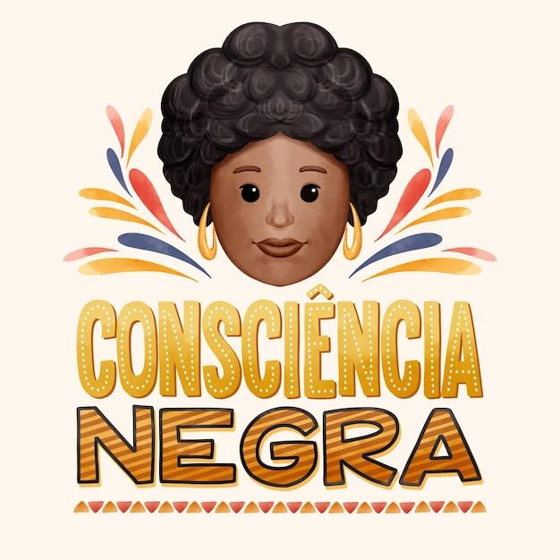 Lettrage Consciencia Negra Vecteur Premium