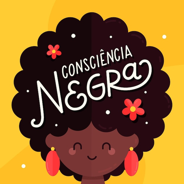 Lettrage Consiencia Negra Vecteur gratuit