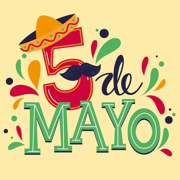 Lettrage Créatif Cinco De Mayo Vecteur gratuit